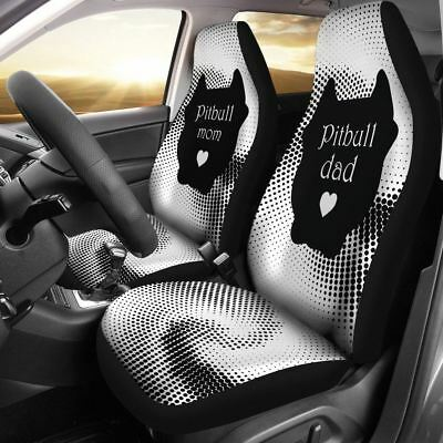 Pitbull Mom and Dad Car Seat Cover Set of 2