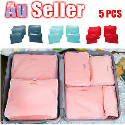 5Pcs Travel Packing Cube Storage Bags Clothes Pouch Luggage Suitcase Organizer