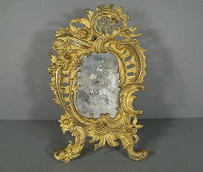 Psyche Table Style Louis Xv Rockery / Mirror On Stand Louis Xv Bronze