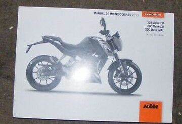 Ktm 125 Duke Eu / 200 Duke Eu - Mal  Owners Manual 2013  ( In Spanish)