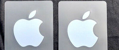 2 x Silver Apple Logo Decal for iPhone Metallic Stickers 7mm x 7mm
