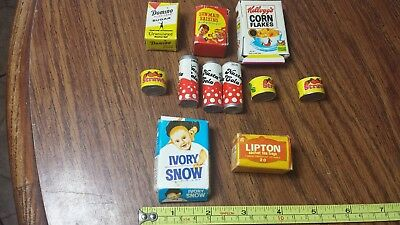 Mini Dollhouse Food Lot Of 11 Strawberries Soda Pop Raisins Lipton Corn Flakes