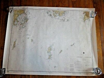 "Vintage 1979 Nautical Chart~Approches to Penobscot bay 48""x36""~map~sailing~Maine"