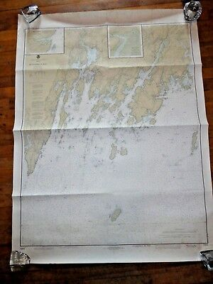 "Vintage 1979 Nautical Chart~ MUSCONGUS BAY Maine 48""x36""~map~sailing~Maine"