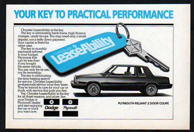 1982 PLYMOUTH Reliant Vintage Original small Print AD - Chrysler LeaseAbility