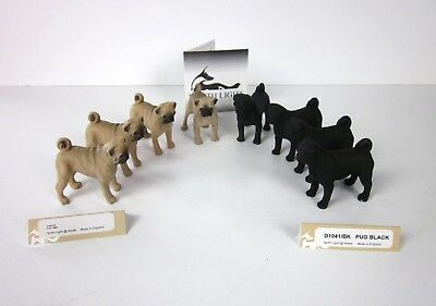 Lot of 8 NEW North Light England Hand Painted Mini Figurines Fawn & Black Pugs