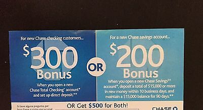 "Chase Bank has a Total Checking + Savings account promotion offering up to $ total for new customers. The notable requirements are that you must switch over a ""real"" direct deposit to get the $ checking bonus, and you'll need a $15, deposit for 90 days to get the $ savings bonus."