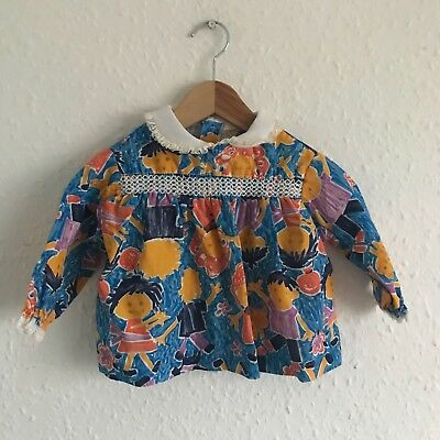 Vintage Kids Baby 90s Crayon Novelty Kitsch Retro Smock Faces Blouse Top 6M