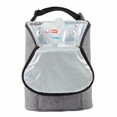 Skip Hop Grab-and-Go Insulated Double Bottle Bag, Heather Grey