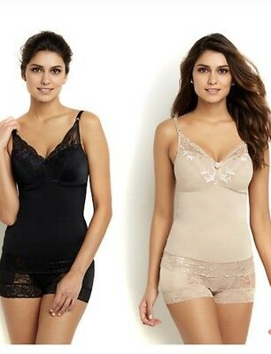 Rhonda Shear Women's Pin-Up Lace Camisole 2-pack Black/Nude Size 1X 1XL HSN $60