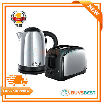 Russell Hobbs Lincoln Kettle & 2-Slice Toaster Set Polished Stainless Steel