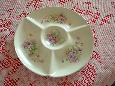 Fitz & Floyd FF Dallas Green 3 Section Relish /Canape Plate/Bowl Pretty Violets