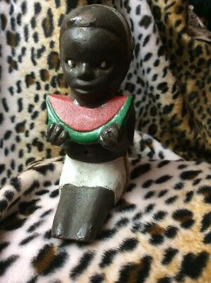 Statue Toy  AMERICANA Black Cast  Iron W BOY EATING WATERMELLON 2 Pieces Screwed