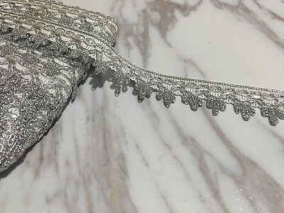 28mm Silver embroidery White Lace Curtain Crown Ric Rac Wedding Craft Per Meter