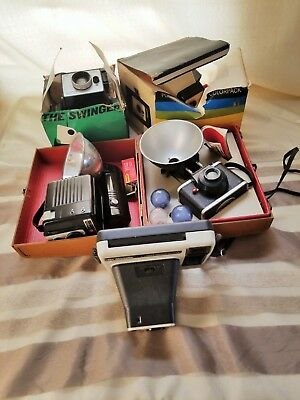 Vintage Camera Lot - 4 Polarid Kodak Some boxes - AS IS -  S1417