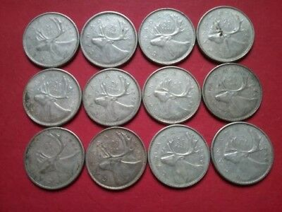 Lot of 12 ~ Canada ~ 1965 & 1966 ~ 25 Cents ~ 80% Silver Coins ~ $3.00 FV