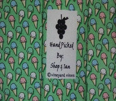 VINEYARD VINES Tie BOYS KIDS 100% Silk Ice cream Pattern Green Color L50 W3.3