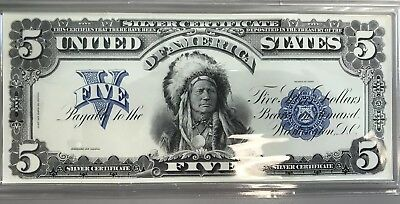 Nice 1899 Silver Certificate $5 Indian Chief Proof from the Coin & Currency Set!