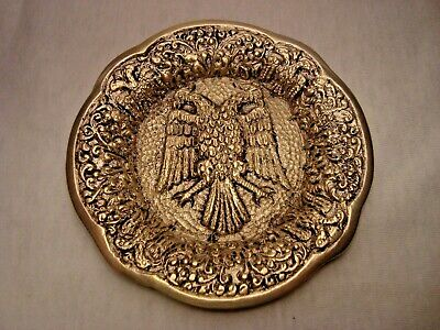 Greece vintage solid brass ashtray with Byzantine Double-Headed Eagle #10
