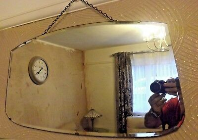 Vintage Frameless Bevelled Edge 4-Sided Wall Mirror On Chain