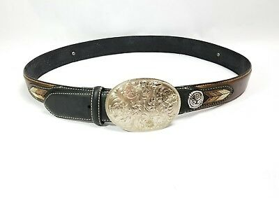 Nocona Size 40 Southwestern Embroidered Brown Leather Belt w/ Silver Buckle