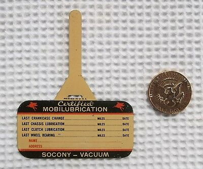 Vintage Tin Mobil Oil Change Reminder  -  Certified Mobilubrication Tag