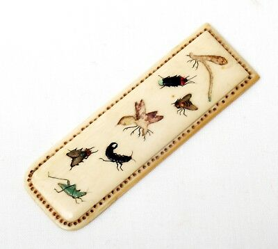 Antique Japanese Shibayama Meiji period Bookmark, inlaid gem or shell insects