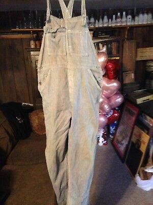 Bee Hive Brand Button Fly Pinstripe Denim Coveralls Very Old