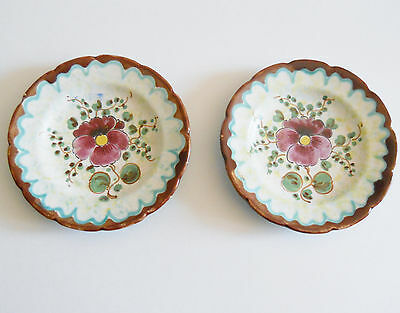 Gouda Viola Ceramic Hand Painted Plates, Pair