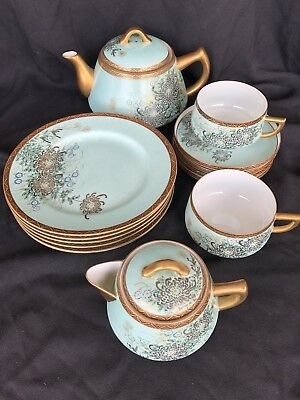 Vintage Kutani Japanese Porcelain Tea  Set Rare Turquoise Color Signed Gold/ Red