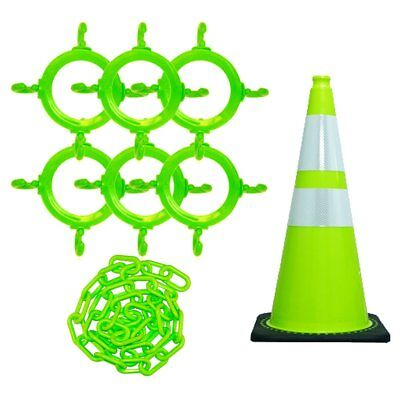 Mr. Chain 93277 Traffic Cone and Chain Kit, Safety Green with Reflective Collar