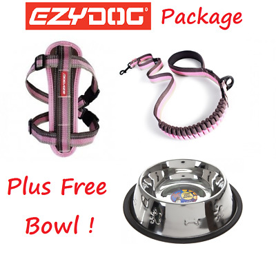 EZYDOG PACKAGE PINK Zero Shock 48 Dog Lead & Chest Plate Harness - FREE BOWL