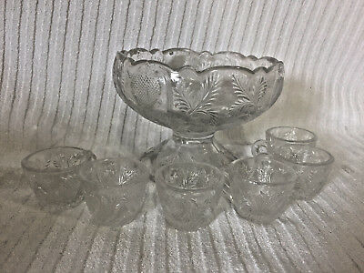 Vintage Crystal Clear Glass Miniature Doll Childs Punch Bowl W/ Cups Set Mosser