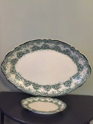 Antique Wedgewood & Co Fern Pattern Large Meat Plate Platter And Small