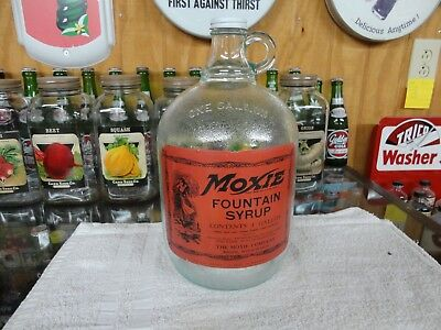Moxie Soda Fountain Syrup Paper Label Jug Boston Mass. Grained Green Tint Glass