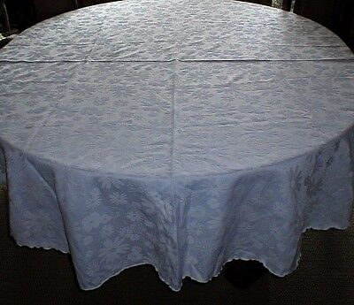 Vintage Damask White Oval Tablecloth With Daisies!
