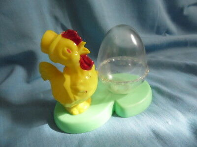 Vintage Easter Plastic Yellow Rooster With Clear Egg Candy Container - Cute!