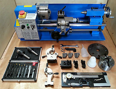 "CJ18A Mini Lathe Blue Package 3 - Brand New 7x14 Machine with DRO & 4"" Chuck"