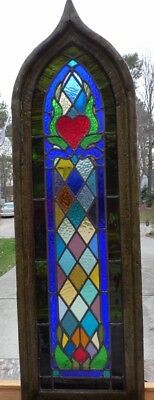 Gothic heart flower leaded stained glass window