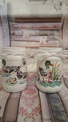 Cath Kidston Ducks Themed Set Of Two Small Upcycled Glass Jars