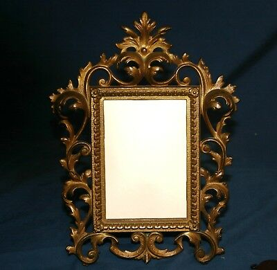 Antique Victorian Cast Iron Picture Frame for Photo or Mirror