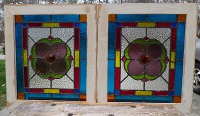 victorian jeweled flowers pair of leaded stained glass windows