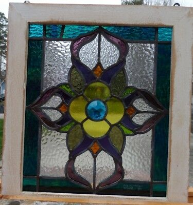 Victorian jeweled flower leaded stained glass window