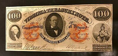 $100 Virginia Treasury Note  Fantastic Condition