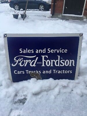 "Ford and Fordson Porcelain Enamel Sign 18""X24"" - Single Sided"