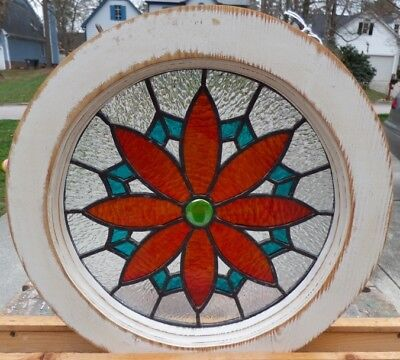 victorian flower round leaded stained glass window