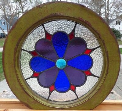 victorian flower round leaded stained glass window 2