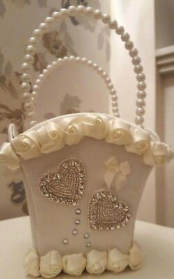 Ivory Flower Girl Or Bridesmaid Satin Bag Basket With And Without Petals