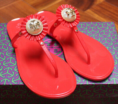 894e9c1c6f90 NIB Tory Burch Melody Pearl Jelly Sandal Nantucket Red Thong Miller Logo 8   125