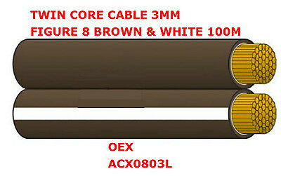 30m Roll of Twin Core 3mm Figure 8 Brown & White Twin Core Cable 3mm OEX ACX0803